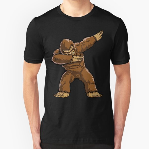 Bigfoot Sasquatch Dabbing T Shirt Funny Dab Monster Gifts Slim Fit T-Shirt