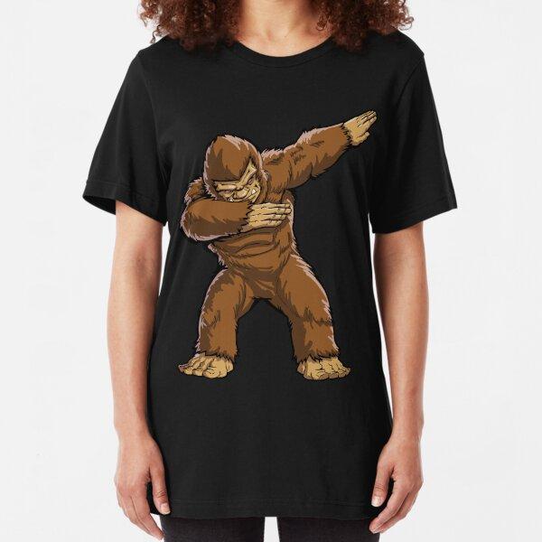 Bigfoot Sasquatch Dabbing T Shirt Funny Dab Monster Gifts Slim Fit T-Shirt