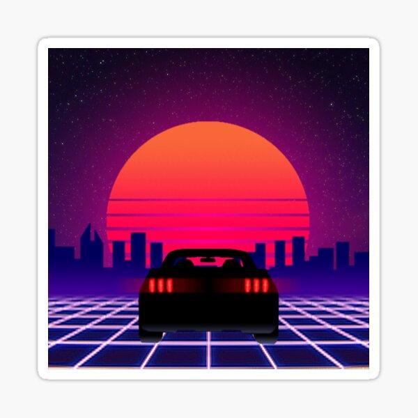 Neon Sunset Mustang Sticker