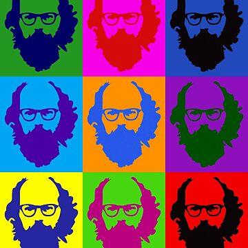 Allen Ginsberg b/w Andy Warhol by boombapbeatnik