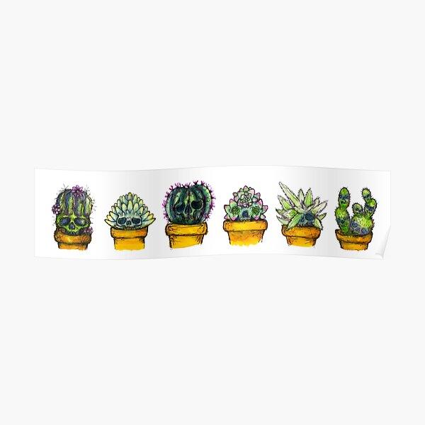 6 succulent skulls Poster