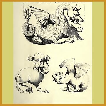 Medieval Gargoyle Illustrations from Augustus Pugin 1854 by katastrophy