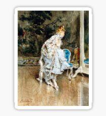 Vintage Giovanni Boldini Beauty before Mirror Fine Art Sticker
