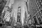 Times Square Hustle B&W by Ray Warren