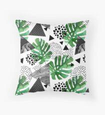Funky fern geometric marble Throw Pillow