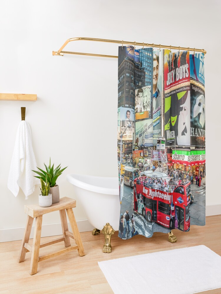 Alternate view of Times Square II widescreen Shower Curtain