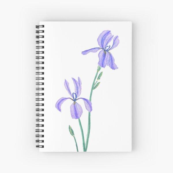 two elegant purple iris watercolor  Spiral Notebook