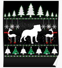 Staffordshire Bull Terrier Ugly Christmas T shirt. Poster