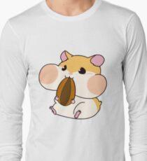 Cute Hamster Emoji Blush Eat Food Long Sleeve T-Shirt