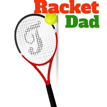 Racket dad-tennis ball and racket print by georgewaiyaki