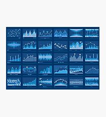 Business Data Financial Charts Blue Banner Photographic Print