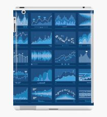 Business Data Financial Charts Blue Banner iPad Case/Skin