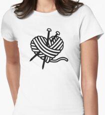 Wool heart knitting needles Womens Fitted T-Shirt