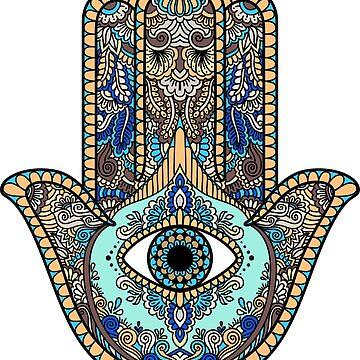 The Multicolored Hamsa Hand by berryferro