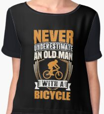 Never Underestimate An Old Man With A Bicycle Funny Women's Chiffon Top