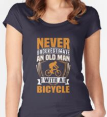 Never Underestimate An Old Man With A Bicycle Funny Women's Fitted Scoop T-Shirt