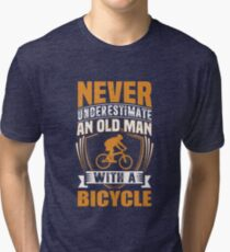 7be3f3d3 Never Underestimate An Old Man With A Bicycle Funny Tri-blend T-Shirt