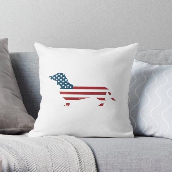 Patriotic Daschund American Flag Cool Wiener Dog Throw Pillow