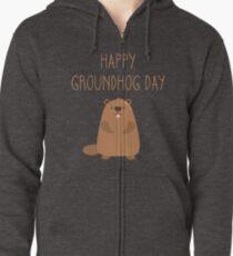 2018 Happy Groundhog Day Zipped Hoodie