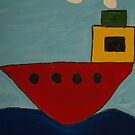 Red Boat Blue Sea by DeborahDinah