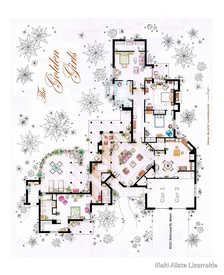 Funda Y Vinilo Para Ipad The Golden Girls House Floorplan V 1 De Nikneuk Redbubble,2 Bedroom House Plans With Basement