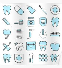 Dentist Pattern Smart Icons Poster