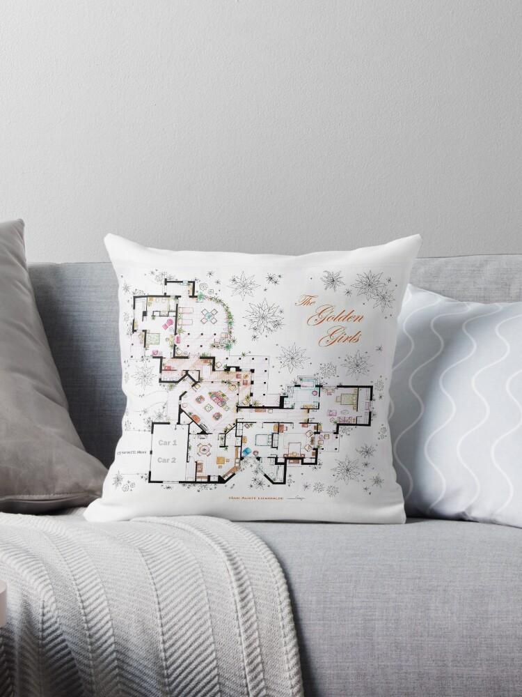 The Golden Girls House Floorplan V 2 Throw Pillows By