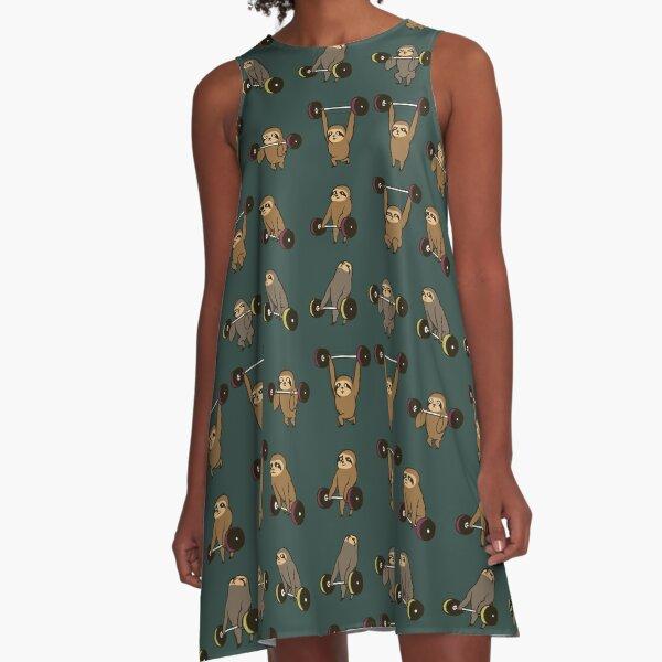 OLYMPIC LIFTING SLOTHS A-Line Dress