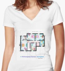 House of Simpson family - First Floor Women's Fitted V-Neck T-Shirt