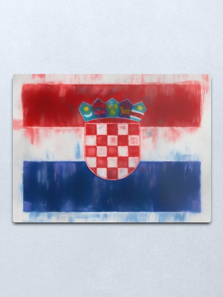 Alternate view of Croatia Flag Reworked No. 66, Series 1 Metal Print