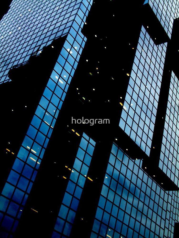 Blue Block Building by hologram
