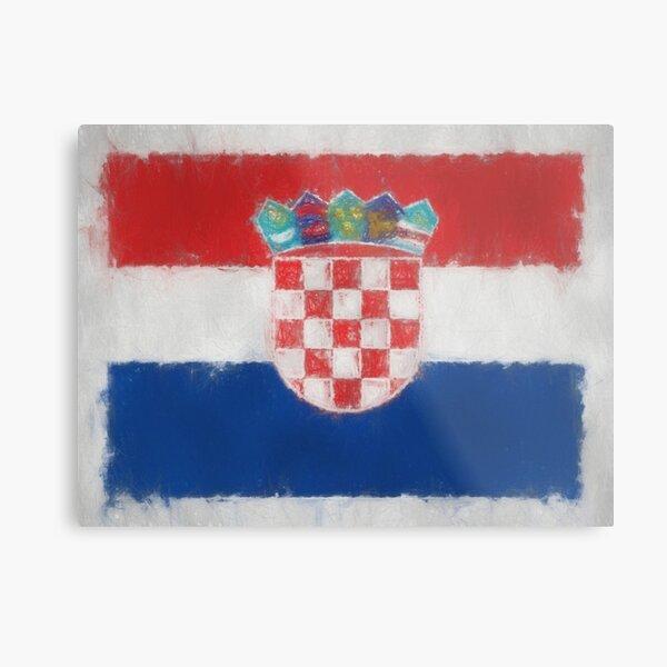 Croatia Flag Reworked No. 66, Series 3 Metal Print
