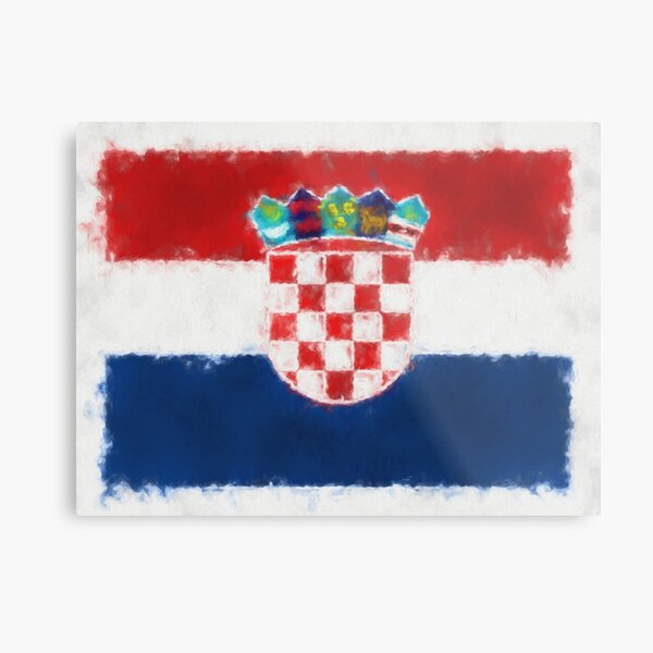 Croatia Flag Reworked No. 66, Series 5 Metal Print