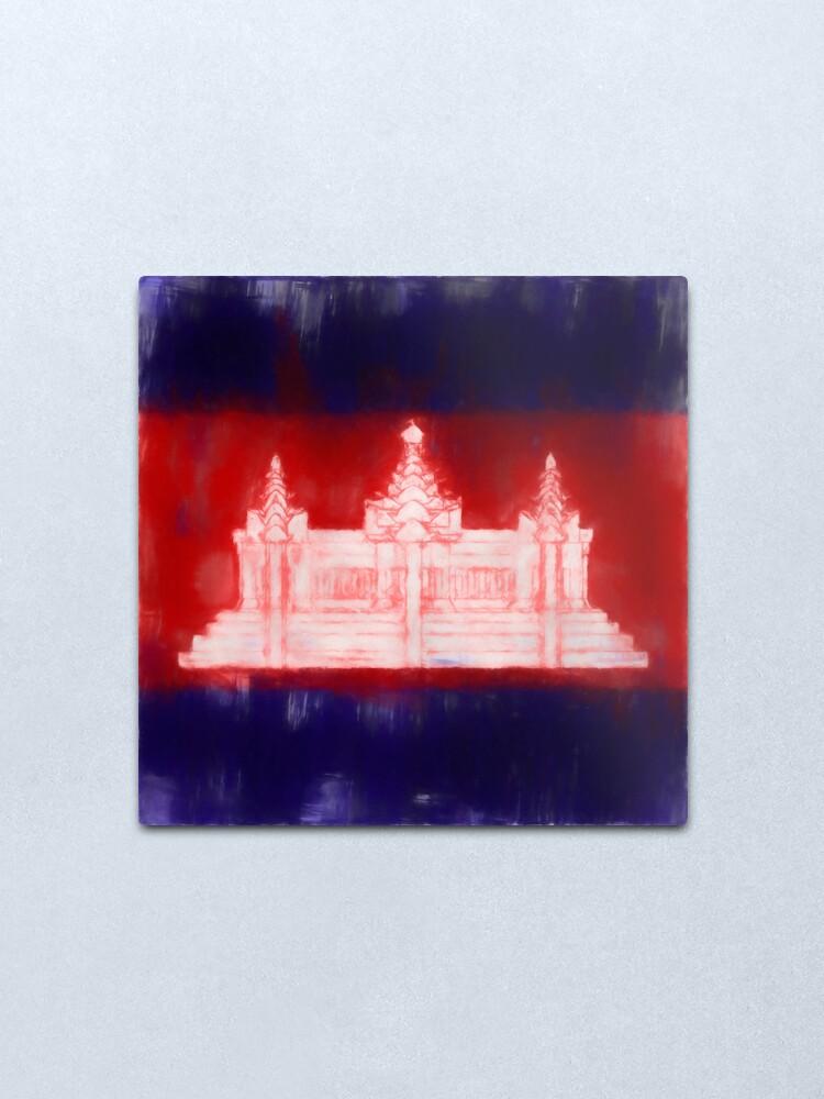 Alternate view of Cambodia Flag Reworked No. 1, Series 1 Metal Print