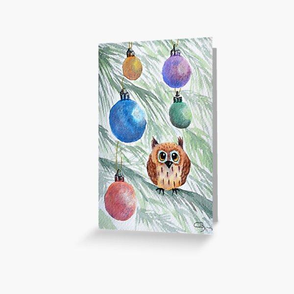 Petit hibou de Noël Carte de vœux