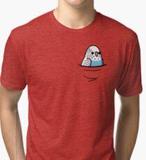 Too Many Birds! - Blue Budgie Tri-blend T-Shirt
