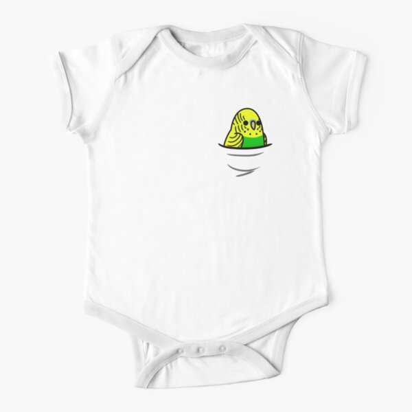 Too Many Birds! - Yellow n' Green Budgie Short Sleeve Baby One-Piece