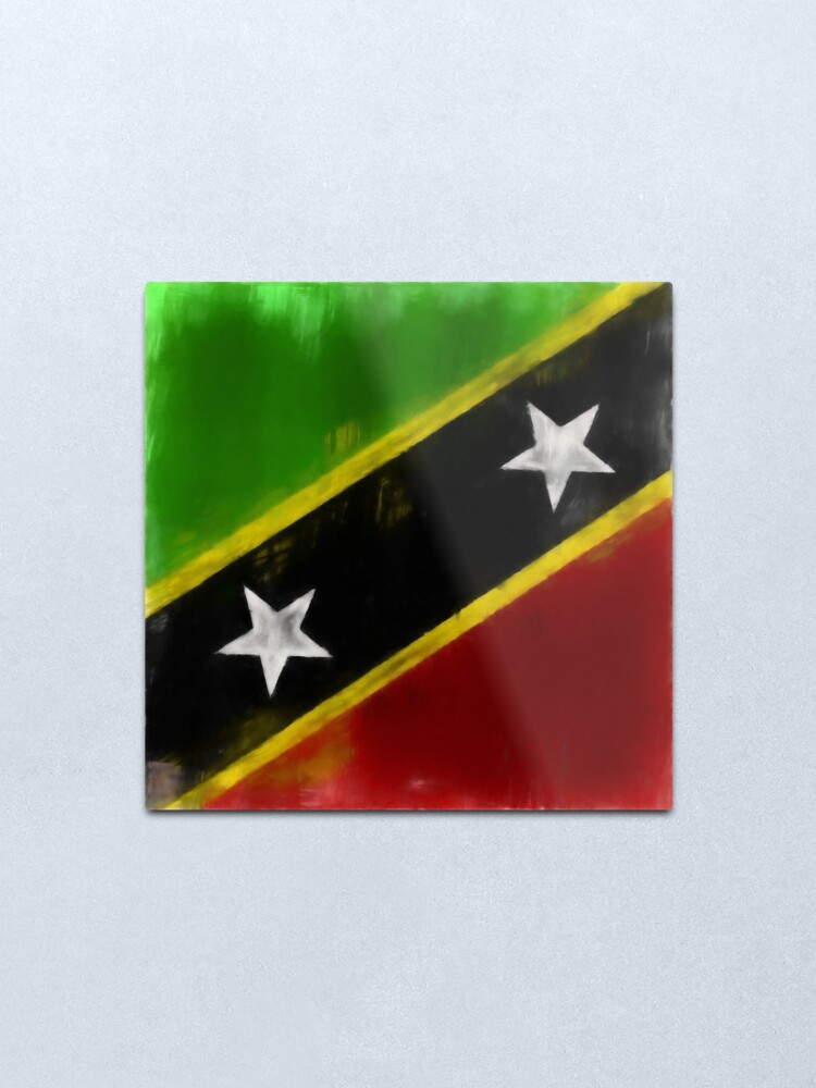 Alternate view of Saint Kitts And Nevis Flag Reworked No. 1, Series 1 Metal Print