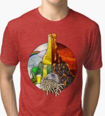 Heaven & Hell Beer Fountain Volcano FSM Pastafarian Tri-blend T-Shirt