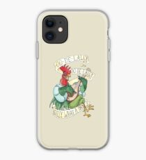 Alan-A-Dale Rooster : OO-De-Lally Golly What A Day Tattoo Watercolor Painting Robin Hood iPhone Case