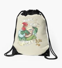 Alan-A-Dale Rooster : OO-De-Lally Golly What A Day Tattoo Watercolor Painting Robin Hood Drawstring Bag