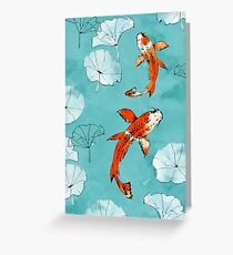 Waterlily koi in turquoise Greeting Card