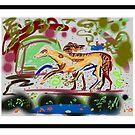 Lurcher greyhounds in a Devonshire garden by Helen Imogen Field
