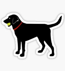 Labrador Retriever Fetch, Black Lab Play Ball Sticker