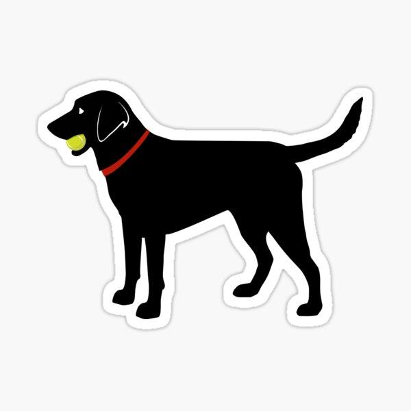 Labrador Retriever Fetch, Black Lab Play Ball Sticker