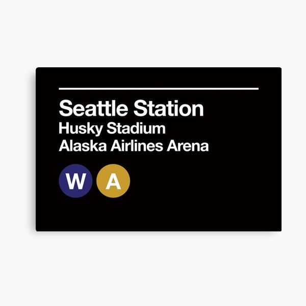 Seattle (Univ. of Washington) Sports Venue Subway Sign Canvas Print