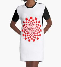 Optical Illusion, Spiral, RED Graphic T-Shirt Dress