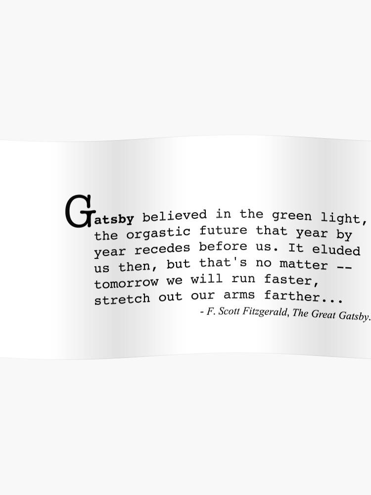 Le Grand Gatsby Citation De F Scott Fitzgerald Poster