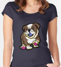 Happy Bulldog Puppy Brown  Women's Fitted Scoop T-Shirt