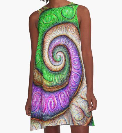 Fibonacci spiral #DeepDream #Art A-Line Dress